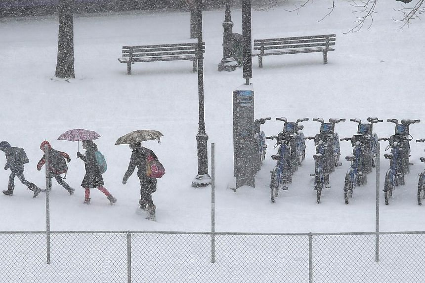 People walk past a CitiBike stand during a snowstorm on Jan 21, 2014 in New York City. -- PHOTO: AFP