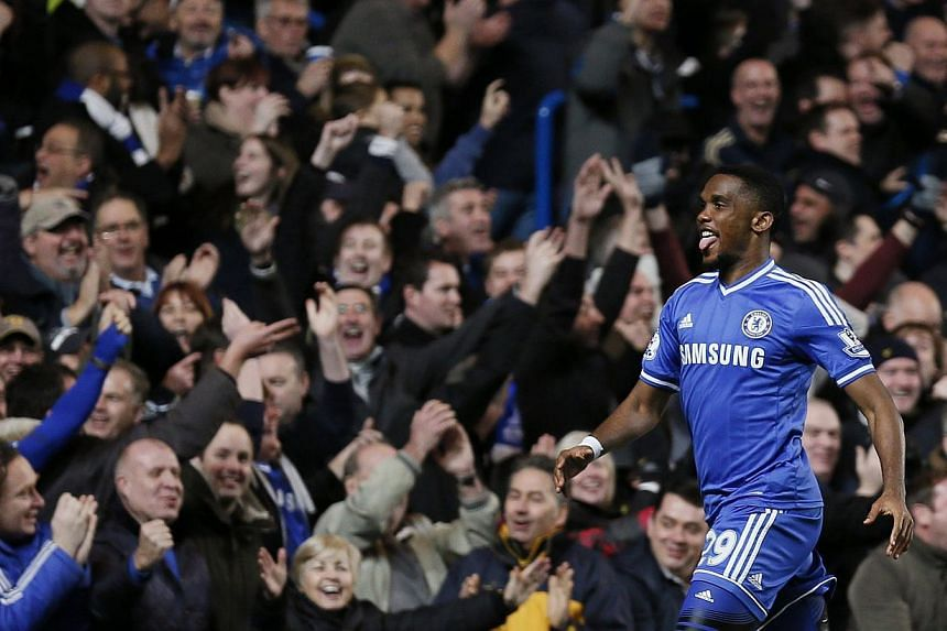Chelsea's Samuel Eto'o celebrating his third goal during their English Premier League match against Manchester United at Stamford Bridge in London, on Jan 19, 2014.Eto'o has been fired up by his hat-trick and says he is fully enjoying his time