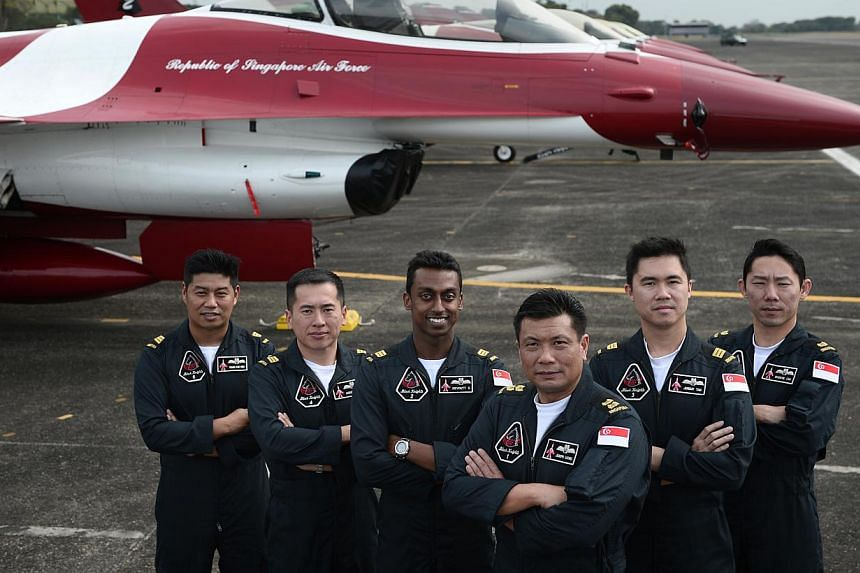 (From left) The Republic of Singapore Air Force (RSAF) aerobatics team, the Black Knights, Captain Chang Haw Ning, Captain Augustine Wan, Captain Devdutt Sasidharan, Lieutenant Colonel Joseph Leong, Captain Jeremy Tan and Major Eugene Lim, pictured a