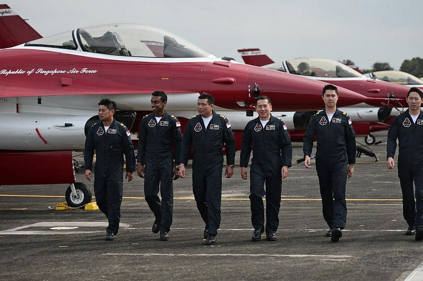 (From left) The Republic of Singapore Air Force (RSAF) aerobatics team, the Black Knights, Captain Chang Haw Ning, Captain Devdutt Sasidharan, Lieutenant Colonel Joseph Leong, Captain Augustine Wan, Captain Jeremy Tan and Major Eugene Lim, pictured a