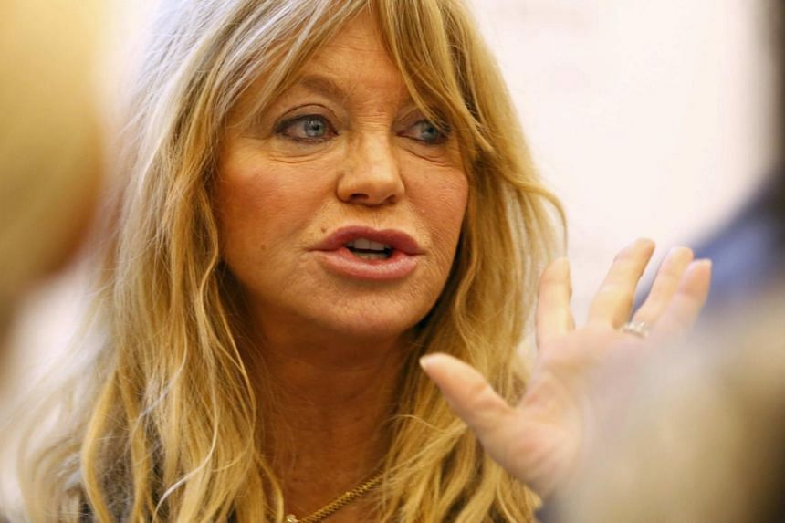 Goldie Hawn, actress, producer, author and founder of The Hawn Foundation speaks during a session at the annual meeting of the World Economic Forum (WEF) in Davos Jan 23, 2014. -- PHOTO: REUTERS