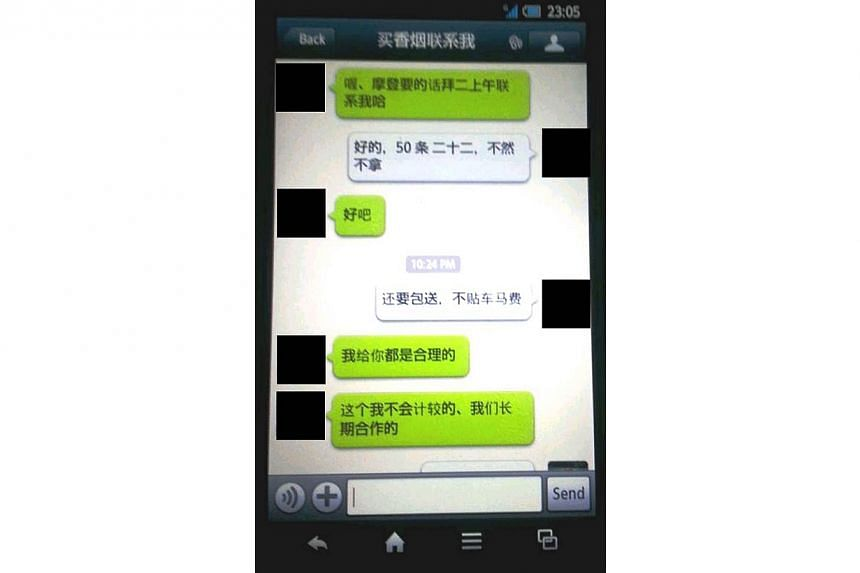 Screenshot of a conversation between a peddler and buyer of contraband cigarettes on the WeChat instant messaging platform. -- PHOTO: SINGAPORE CUSTOMS