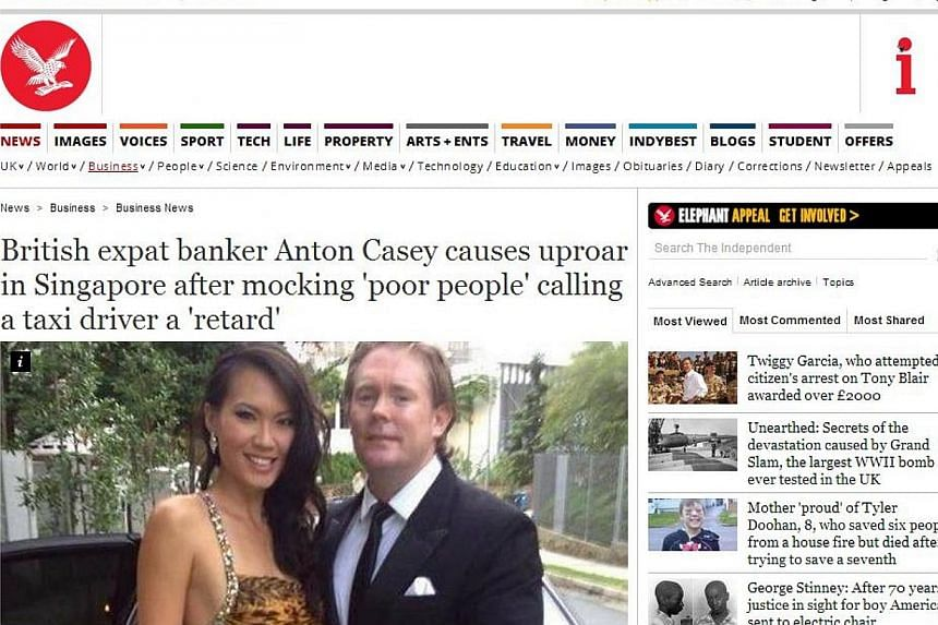 """A report about Mr Anton Casey onThe Independent's website.The British wealth fund manager, who referred to public transport commuters in Singapore as """"poor people"""" in a Facebook post, has grabbed headlines in his home country.-- PHO"""