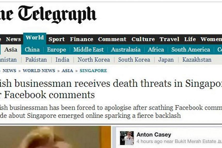 """A report about Mr Anton Casey onThe Telegraph's website.The British wealth fund manager, who referred to public transport commuters in Singapore as """"poor people"""" in a Facebook post, has grabbed headlines in his home country.-- PHOTO"""