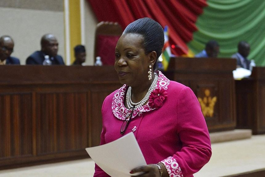 Candidate Catherine Samba Panza walks to the tribune to give her speech at the National Transitional Council (CNT) during a session to elect the interim president of the Central African Republic on Jan 20, 2014, in Bangui.The new president of C