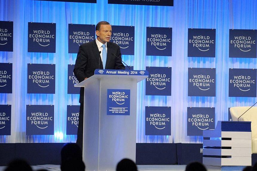Australian Prime Minister Tony Abbott addresses the World Economic Forum in Davos on Thursday, Jan 23, 2014.The prime minister of Australia, the current holder of the rotating G20 presidency, said on Thursday he would seek to bolster free trade
