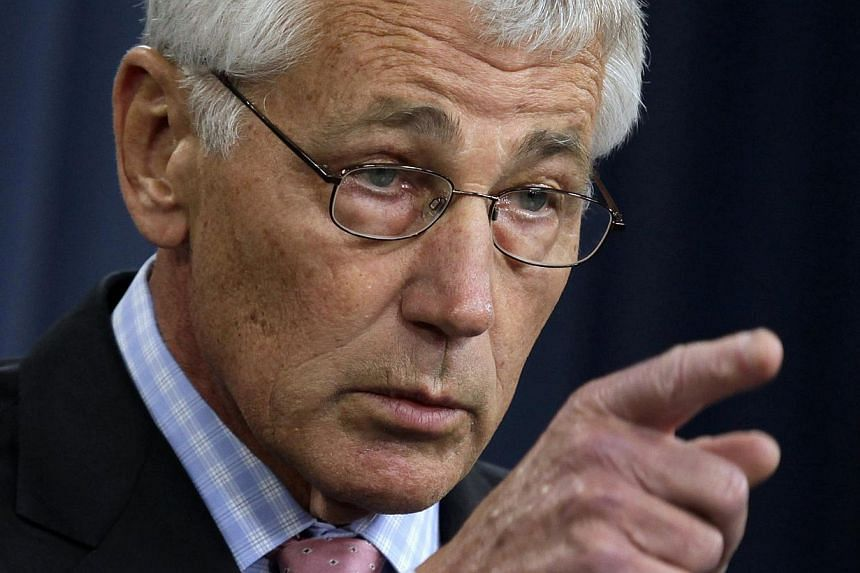 US Secretary of Defense Chuck Hagel speaks at a news conference at the Pentagon in Washington on Oct 17, 2013. Mr Hagel has ordered a sweeping review of the US nuclear force after a series of embarrassing incidents including cheating on an exam