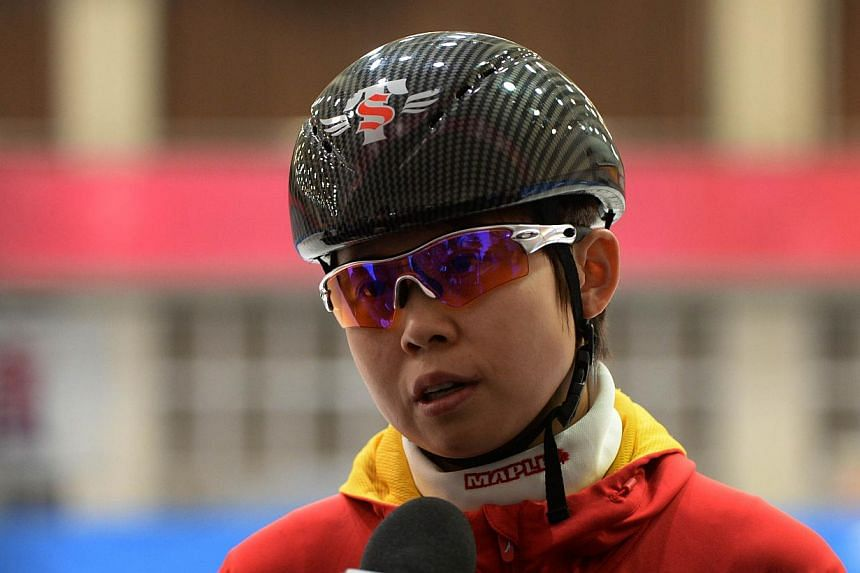 Chinese short track speed skater Wang Meng during an interview after a practice session in Beijing, on Dec 20, 2013. China's most decorated winter Olympian has confirmed that she will miss next month's Sochi Games after suffering a broken ankle, stat
