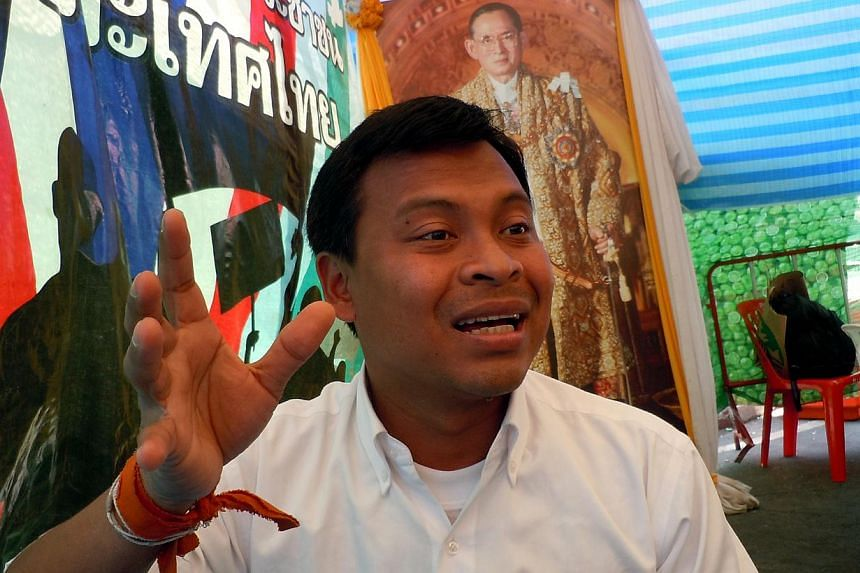 Uthai Yodmanee, a co-leader of the Network of Students and People for the Reform of Thailand. -- ST PHOTO: TAN HUI YEE