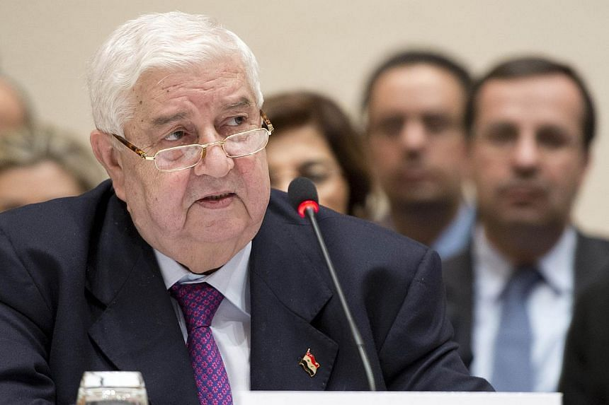 """Syria's Foreign Minister Walid Muallem speaks during peace talks of the so-called Geneva II conference in Montreux on Jan 22, 2014. Syria is threatening to quit peace talks in Geneva by Saturday, criticising the opposition delegation as """"not serious,"""