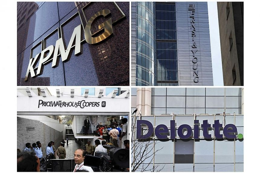 """Buildings of the global """"Big Four"""" accounting firms (clockwise from top left) KPMG, Ernst & Young, Deloitte & Touche and PricewaterhouseCoopers are pictured in this combination photograph. A US judge has ordered Chinese units of the """"Bi"""
