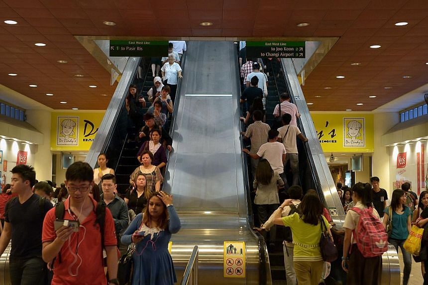 Evening commuters at Tampines MRT. The LTA hopes to adopt a ''calibrated approach'' towardsviolations under RTS regulations, which include eating on trains, loitering and tampering withequipment. -- ST PHOTO: KUA CHEE SIONG