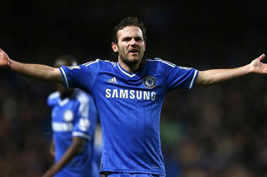 Chelsea's Juan Mata gestures during their English Premier League soccer match against Southampton at Stamford Bridge in London on Dec 1, 2013. Mata has joined Manchester United for a club record transfer fee of 37.1 million pounds (S$78.68 million) f