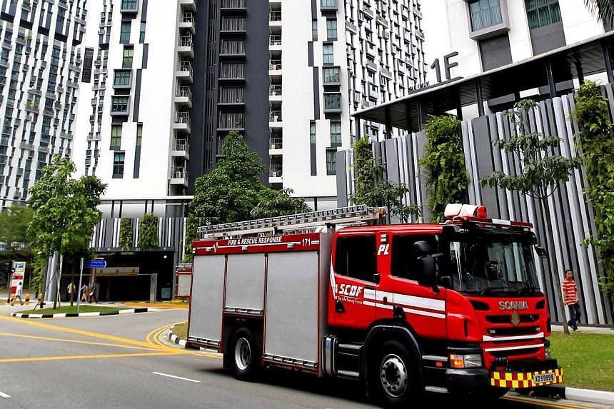 Fire at Pinacle @ Duxton flat on tower E, 29th floor, on Jan 26, 2014. -- ST PHOTO: CHEW SENG KIM