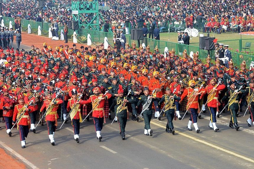 Members of an Indian Army band march during the Republic Day parade in New Delhi, on Jan 26, 2014. -- PHOTO: AFP