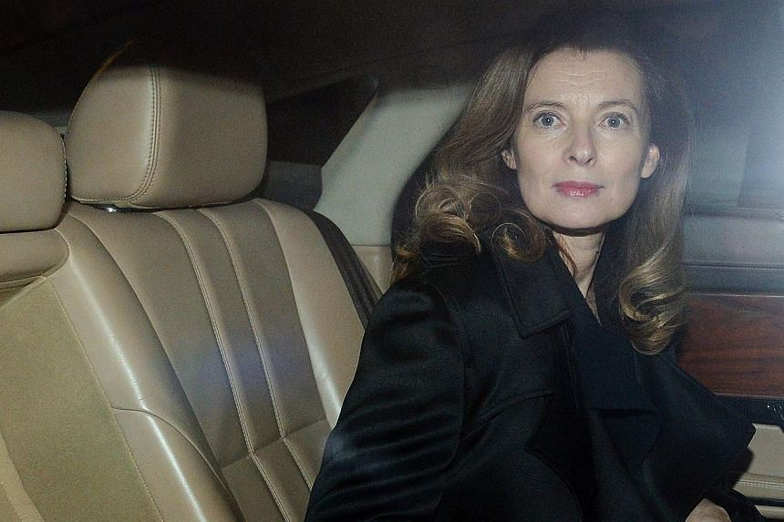 Ms Valerie Trierweiler, is seen inside a car after arriving at the international airport in Mumbai early on Jan 27, 2014.MsTrierweiler, the ex-partner of French President Francois Hollande, was in India on Monday on a charity visit, makin