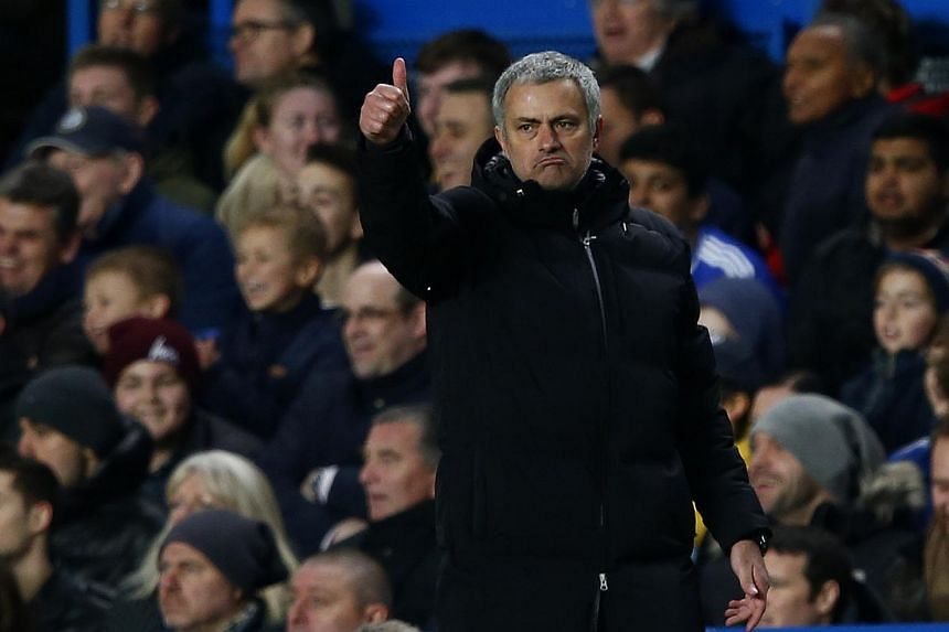 Chelsea's manager Jose Mourinho gestures during their English Premier League soccer match against Manchester United at Stamford Bridge in London, on Jan 19, 2014.Mourinho refused to allow the prospect of an FA Cup tie at Manchester City to damp