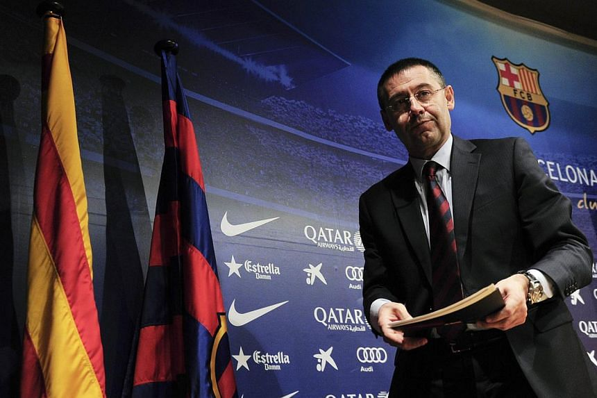 Barcelona's new president Josep Maria Bartomeu leaves after a press conference in Barcelona on Jan 24, 2014.Barcelona put a stressful week off the field after the resignation of club president Sandro Rosell behind them to move back to the top o