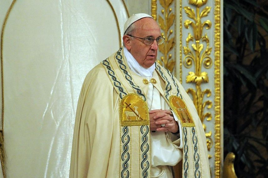 Pope Francis leads the vespers on Jan 25, 2014 at the Basilica of Saint Paul Outside the Walls (San Paolo Basilica).Pope Francis urged the killers of a three-year-old boy murdered in southern Italy as part of an apparent mafia hit to repent on