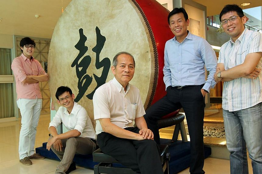 Singapore Chinese Music Federation council members (from left) Yang Jiwei, Chua Yew Kok, Tay Teow Kiat, Terence Ho and Ling Hock Siang. Last week, Dr Tay, Mr Ho and Mr Yang were elected as the group's president, vice-president and treasurer, respecti