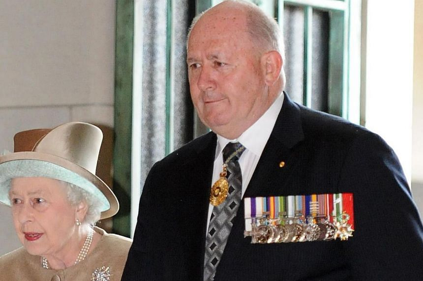 Britain's Queen Elizabeth II (left) being escorted by Australia's General Peter Cosgrove (right) at the Australian War Memorial in Canberra, Australia on Oct 25, 2011. Former defence forces chief Peter Cosgrove was on Tuesday appointed Australia