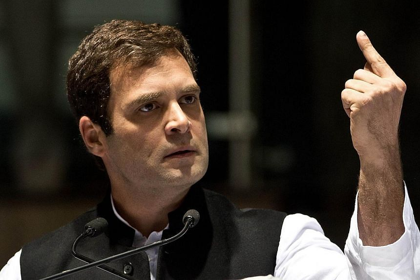 In this photograph taken on Jan 17, 2014 Congress Party Vice President, Rahul Gandhi delivers his speech during the All India Congress Committee (AICC) meeting in New Delhi. -- FILE PHOTO: AFP