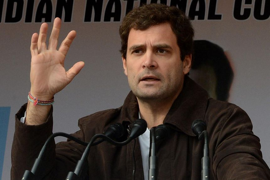 In this photograph taken on Nov 7, 2013 Congress Party Vice-President Rahul Gandhi gestures as he addresses Congress supporters at the party's headquarters in Srinagar. -- FILE PHOTO: AFP