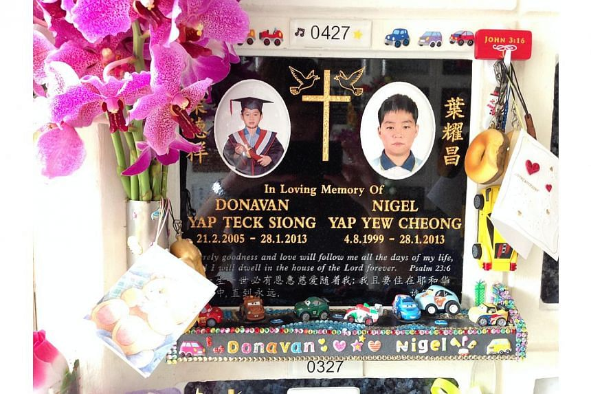 Nigel Yap Yew Cheong, 13, and Donavan Yap Teck Siong, seven, were killed near their home when the truck driven by Munir Mohd Naim, 57, hit them on Tampines Street 45 in January 2013. -- ST PHOTO: JOYCE LIM