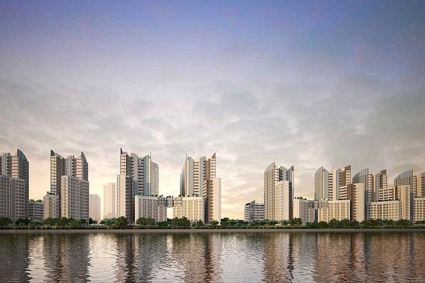 An artist's impression of Punggol BayView's Build-To-Order (BTO) flats, one of two Punggol projects launched this month. ''Buyers are generally excited about the waterway living concept in Punggol,'' says R'ST Research director Ong Kah Seng. -- PHOTO