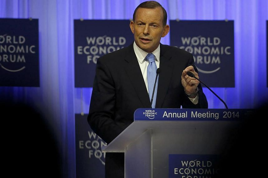"""Australia's Prime Minister Tony Abbott speaks during a session at the annual meeting of the World Economic Forum (WEF) in Davos on Jan 23, 2014. Mr Abbott launched a scathing attack on national broadcaster ABC on Wednesday, accusing it of taking """"eve"""