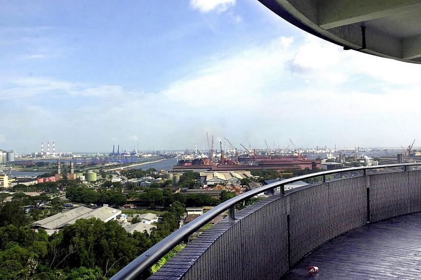 A great view of JurongIndustrial estate can be seen from the four-storey high lookout tower atJurong Hill Park. -- ST FILE PHOTO: CHEW SENG KIM