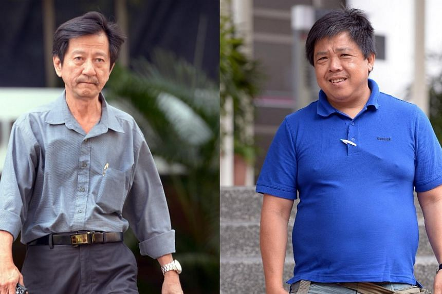 Yeo Eng Hock (left) andTan Suan Lee (right)were each fined $4,000 on Wednesday, Jan 29, 2014, for selling alcohol illegally in Little India in the aftermath of the Dec 8 riot. -- ST PHOTO:LIM SIN THAI