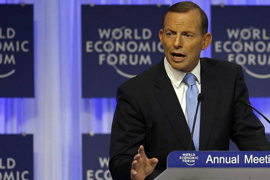 Australia's Prime Minister Tony Abbott speaks during a session at the annual meeting of the World Economic Forum (WEF) in Davos on Jan 23, 2014. Australian Prime Minister Tony Abbott on Thursday came under pressure from his own communications ministe