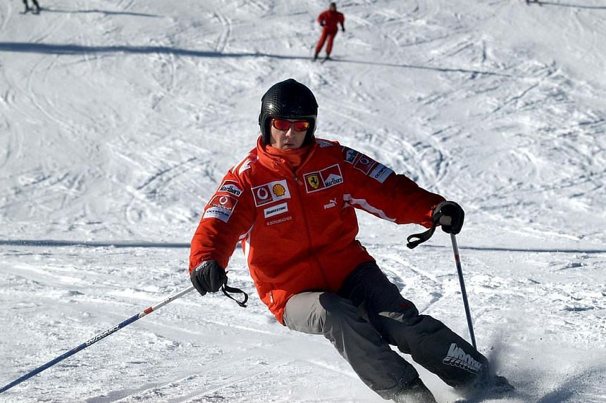 Former Formula One world champion Michael Schumacher skis in the northern Italian resort of Madonna Di Campiglio on Jan 13, 2005. Doctors have started trying to bring Formula One legend Michael Schumacher out of his month-long induced coma, his spoke