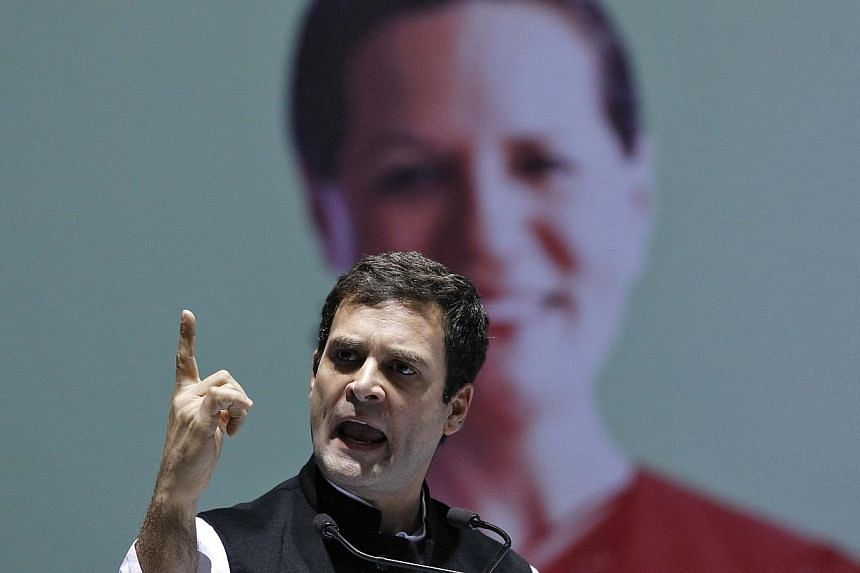 Congress party vice president Rahul Gandhi speaks during the All India Congress Committee (AICC) meeting in New Delhi, on Jan 17, 2014.The Indian government on Thursday, Jan 30, 2014, raised the subsidy on cooking gas, a populist move just mont