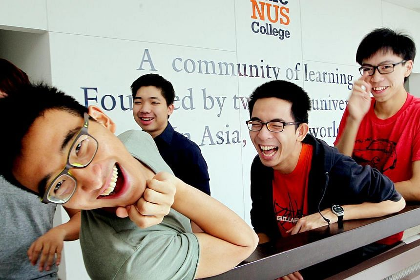 (Above) Yale-NUS improv comedy club members (from second from left) Dylan Ho, Walter Yeo, Kevin Low and Christopher Tee. -- ST PHOTO: LAU FOOK KONG