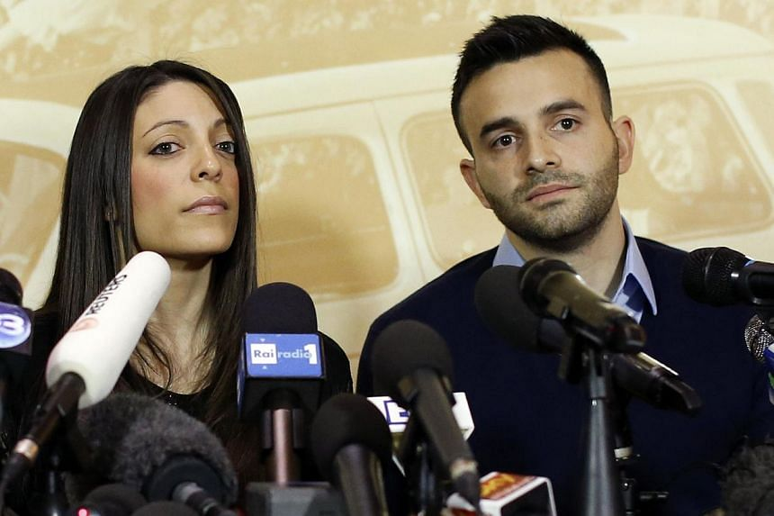 Stephanie Kercher (left) and Lyle Kercher, the sister and brother of murdered British student Meredith Kercher, attend a news conference in Florence, on Jan 31, 2014. The family of murdered British student Meredith Kercher said on Friday, Jan 31, 201
