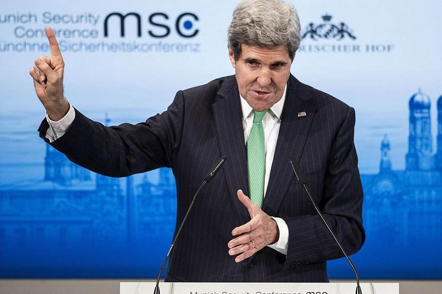 "US Secretary of State John Kerry speaks during the Munich Security Conference at the Bayerischer Hof Hotel in Munich, on Feb 1, 2014. United States Secretary of State John Kerry called for a ""transatlantic renaissance"" in which the United States"
