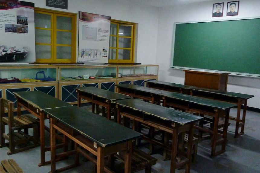 The mock classroom, designed to look like a North Korean primary school,where Ms Clara Park fields questions from tourists.More and more defectors are coming forward to share harrowing details ofwhat it is like living on food waste
