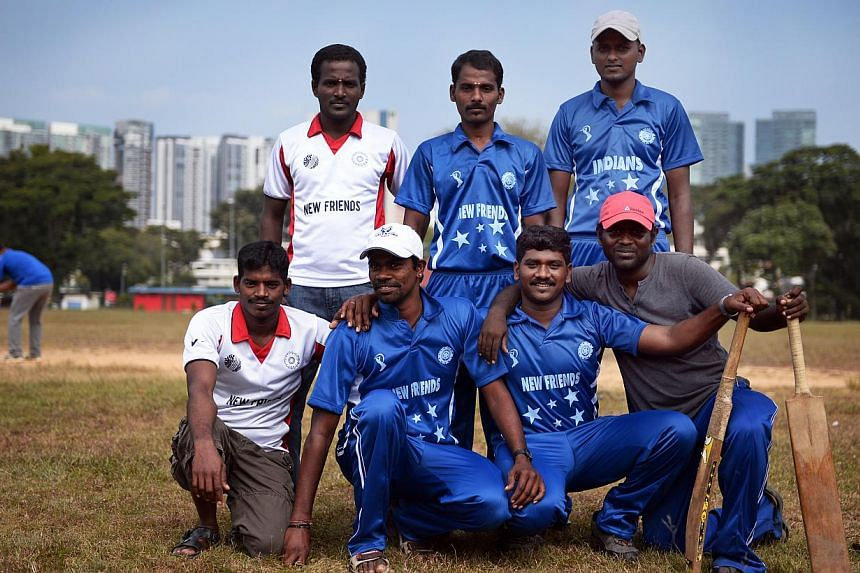 Some of the players from the New Friends Cricket Team - one of the teams playing in Little India on Sundays. -- ST PHOTO: MARK CHEONG