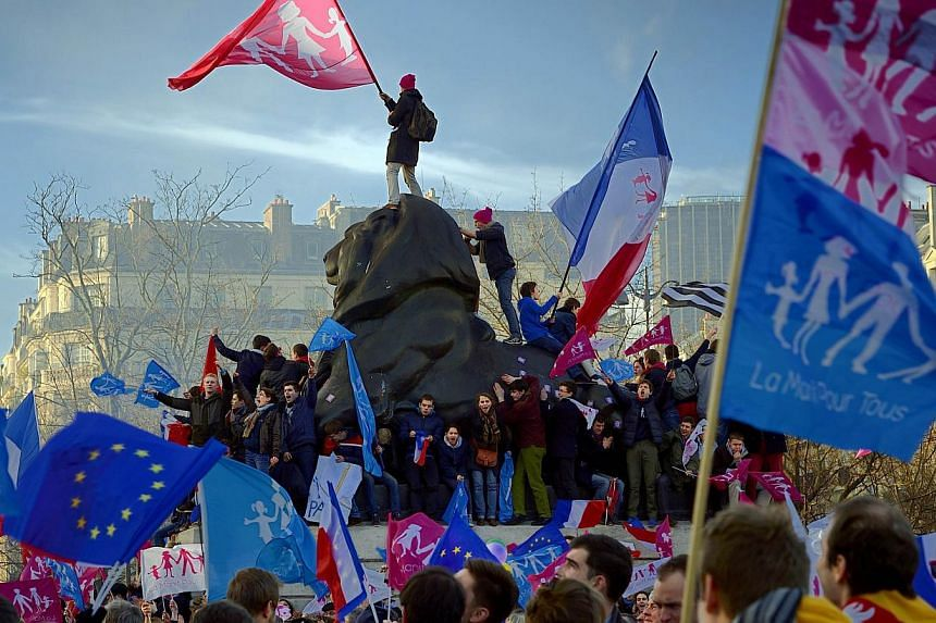 """Supporters of the """"La Manif Pour Tous"""" (Protest for Everyone) movement demonstrate to defend their vision of the traditional family, on Feb 2, 2014, in Paris. Over 100,000 conservative French marched through Paris and Lyon on Sunday accusing the gove"""