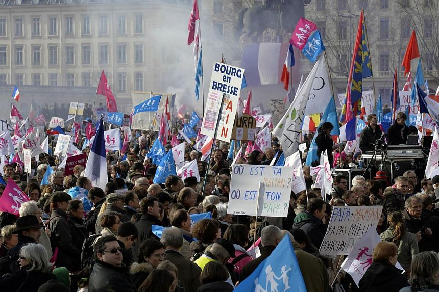 "Supporters of the ""La Manif Pour Tous"" (Protest for Everyone) movement demonstrate to defend their vision of the traditional family, on Feb 2, 2014, in Lyon. -- PHOTO: AFP"