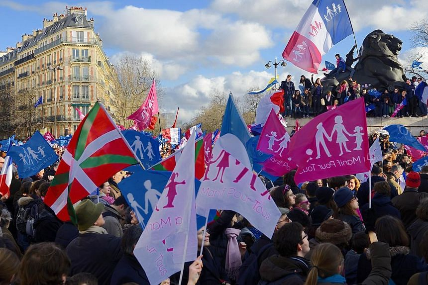 """Supporters of the """"La Manif Pour Tous"""" (Protest for Everyone) movement demonstrate to defend their vision of the traditional family, on Feb 2, 2014, in Paris. -- PHOTO: AFP"""