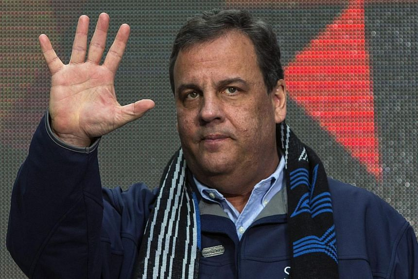 New Jersey Governor Chris Christie gestures during the Super Bowl hand-off ceremony on Super Bowl Boulevard in Times Square, as part of the Super Bowl lead up in New York on Feb 1, 2014. A New Jersey Democrat leading a probe of the bridge traffic sca