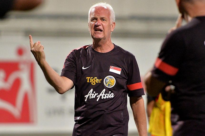Singapore's national team coach Bernd Stange. Stange on Monday conceded that Singapore's hopes of reaching the 2015 AFC Asian Cup finals are all but over. -- NP FILE PHOTO: ARIFFIN JAMAR