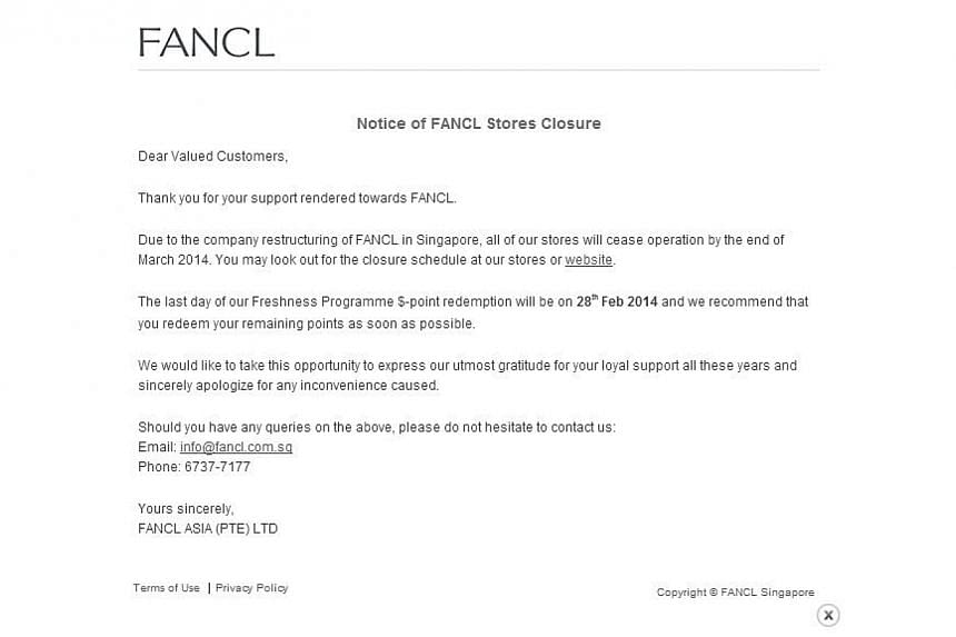 As part of a restructuring plan, Japanese skincare brand Fancl will close its 13 stores in Singapore by the end of March.  -- PHOTO: SCREENGRAB OF FANCL SINGAPORE WEBSITE