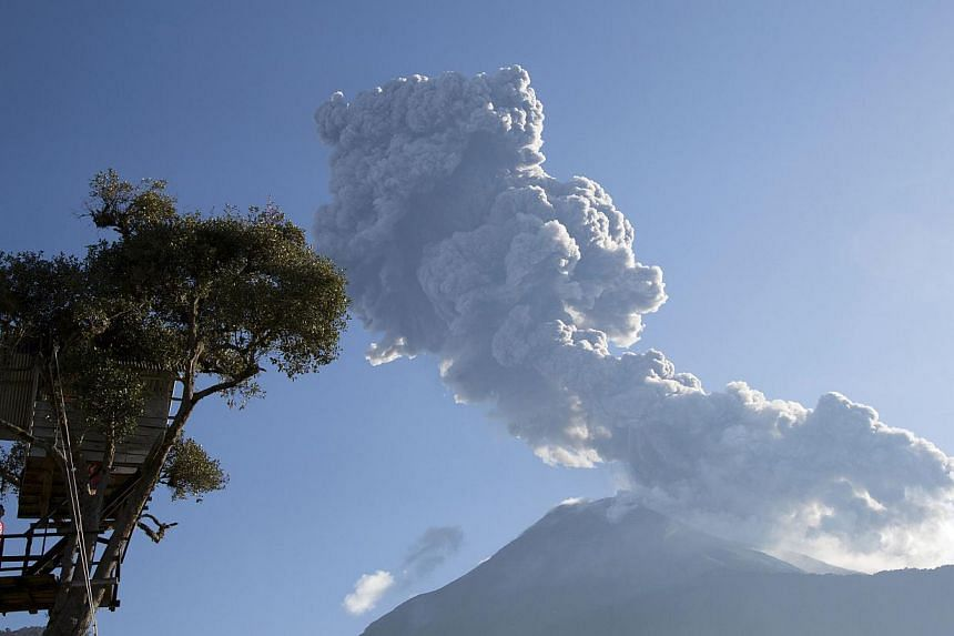 A boy stands on a platform built next to a treehouse as the Tungurahua volcano erupts in Banos, on Feb 1, 2014. -- PHOTO: REUTERS