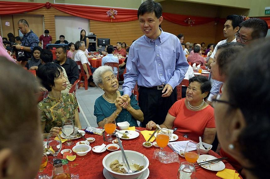 Minister for Social and Family DevelopmentChan Chun Sing greeting residents at the Buona Vista Community Club at the annual Tanjong Pagar GRC and Radin Mas SMC Chinese New Year Dinner.The pioneer generation package is a long term commitme