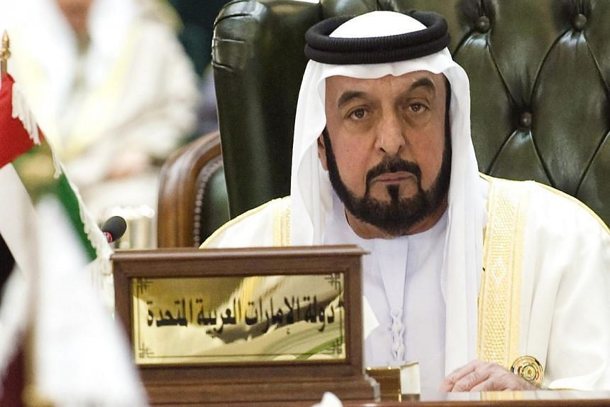 United Arab Emirates President Sheikh Khalifa bin Zayed al-Nahyan listens to closing remarks during the closing ceremony of the Gulf Cooperation Council summit in Kuwait's Bayan Palace on Dec 15, 2009.President Sheikh Khalifa bin Zayed Al-Nahya