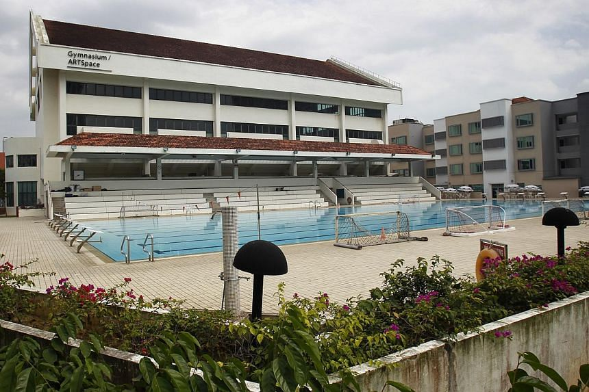 The swimming pool at Raffles Institution. Some independent and mission schools have bigger and better facilities than others, thanks to donations from their alumni but former students also lend their support to other initiatives, sometimes in non-fin